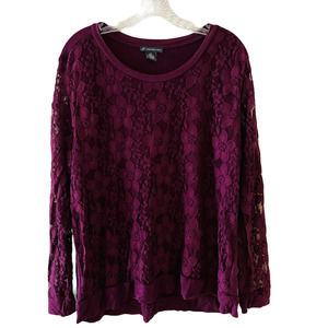 Adriana Papell Merlot Lace Jersey Long Sleeves Top